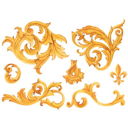 Illustration pour Watercolor vector golden baroque pattern rococo ornament rich luxury elements - image libre de droit