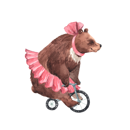 Ilustración de Beautiful vector watercolor circus bear on bike illustration - Imagen libre de derechos