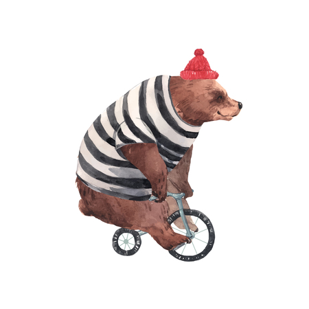 Illustration pour Beautiful vector watercolor circus bear on bike illustration - image libre de droit