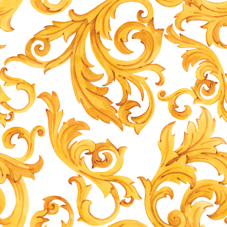 Illustration for Watercolor vector golden baroque pattern rococo ornament rich luxury print - Royalty Free Image
