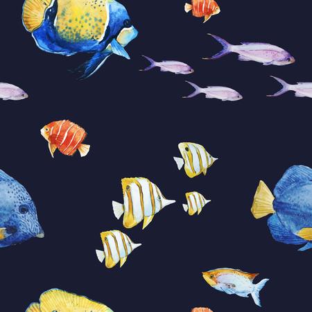 Ilustración de Watercolor sea life vector pattern - Imagen libre de derechos