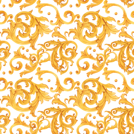 Illustration for Watercolor golden baroque vector pattern rococo ornament rich luxury print - Royalty Free Image