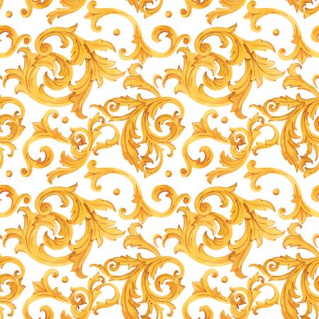 Illustration pour Watercolor golden baroque vector pattern rococo ornament rich luxury print - image libre de droit