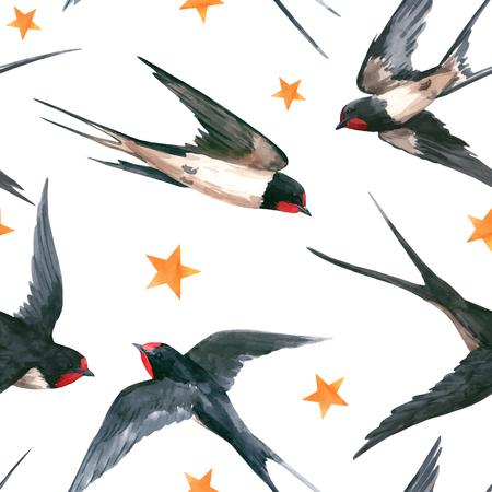 Ilustración de Watercolor swallow vector pattern - Imagen libre de derechos