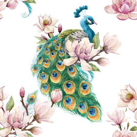 Ilustración de Beautiful vector seamless pattern with hand drawn watercolor flowers and peacocks - Imagen libre de derechos