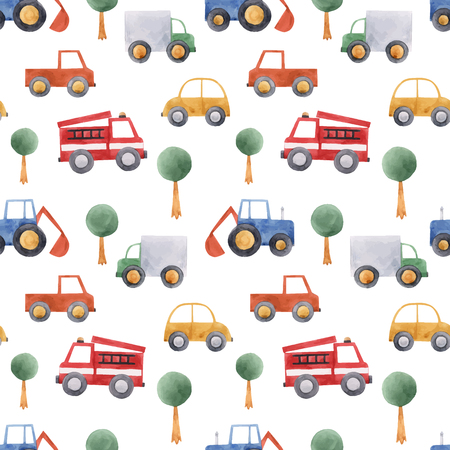 Illustration pour Beautiful vector seamless pattern with hand drawn watercolor baby children car vehicle truck tractor - image libre de droit