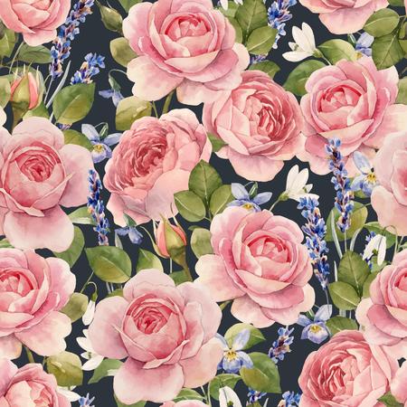 Ilustración de Beautiful vector seamless pattern with hand drawn watercolor roses - Imagen libre de derechos