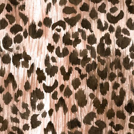 Illustrazione per Watercolor leopard jaguar texture vector pattern - Immagini Royalty Free