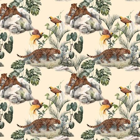 Illustration pour Watercolor tropical vector seamless pattern - image libre de droit