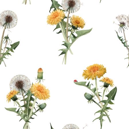 Ilustración de Beautiful vector seamless floral pattern with watercolor dandelion blowball flowers - Imagen libre de derechos
