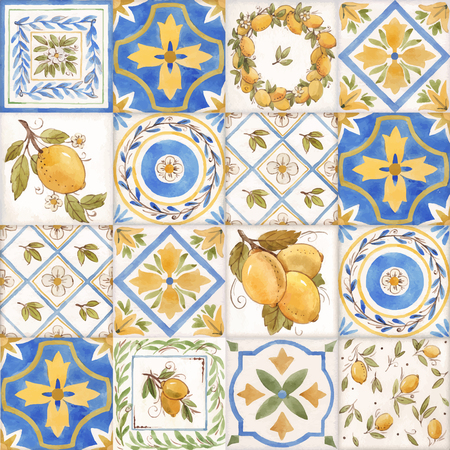 Illustration for Watercolor vector ornament square summer pattern with Sicily yellow lemons - Royalty Free Image