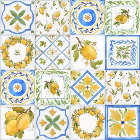 Ilustración de Watercolor ornament square vector pattern - Imagen libre de derechos