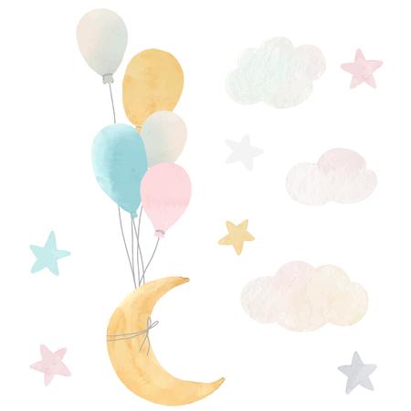 Illustration pour Vector baby moon stars and clouds - image libre de droit