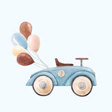 Ilustración de Watercolor baby car vector illustration - Imagen libre de derechos