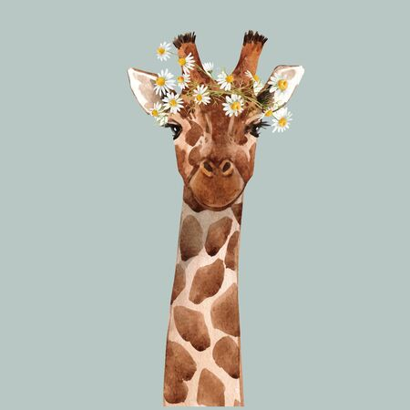 Illustration pour Beautiful watercolor hand drawn giraffe head vector portrait - image libre de droit
