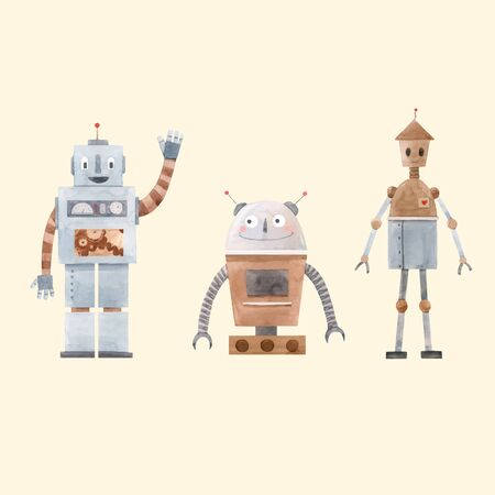 Illustration pour Watercolor robot vector set - image libre de droit