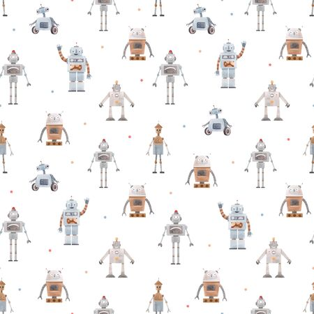 Illustration pour Watercolor vector baby pattern with robots - image libre de droit