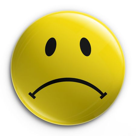 3d rendering of a badge with a sad smiley