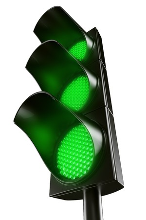 3d renderings fg an all green traffic light
