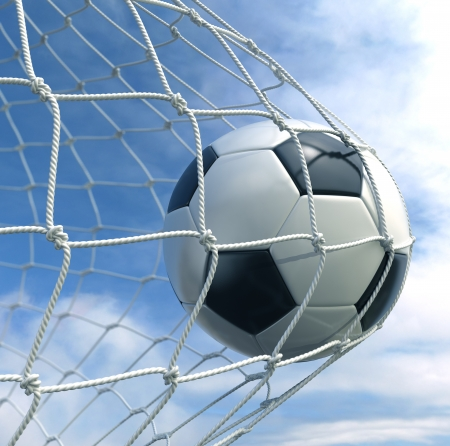 3d rendering of a soccer ball in a net