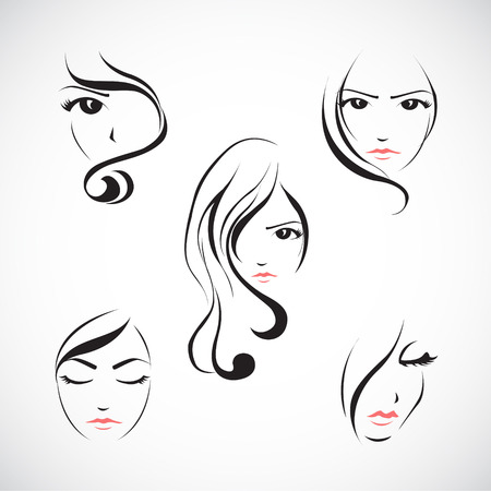 Illustration for Vector illustration set of beautiful woman's face with  long hair - Royalty Free Image