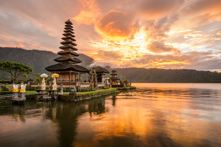 Photo for Pura Ulun Danu Bratan Hindu temple on Bratan lake Bali Indonesia - Royalty Free Image