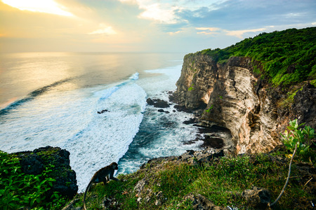Photo for Scenic landscape of high cliff at Uluwatu Temple, Bali, Indonesia - Royalty Free Image