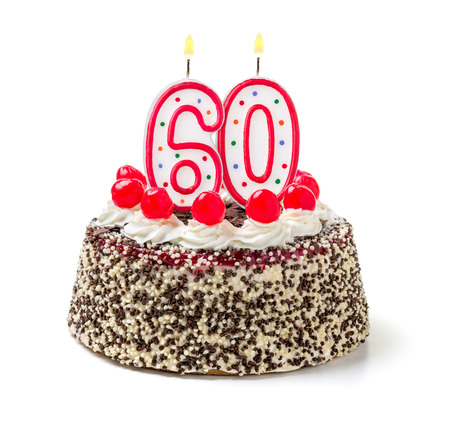 Photo for Birthday cake with burning candle number 60 - Royalty Free Image