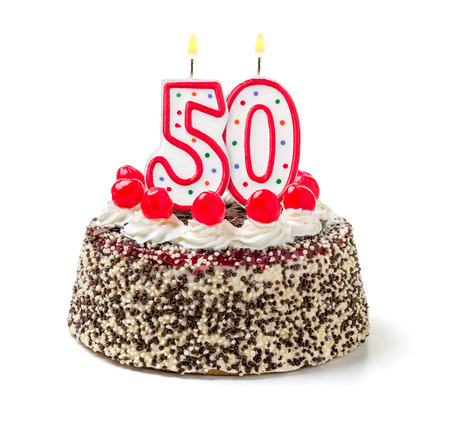 Photo for Birthday cake with burning candle number 50 - Royalty Free Image