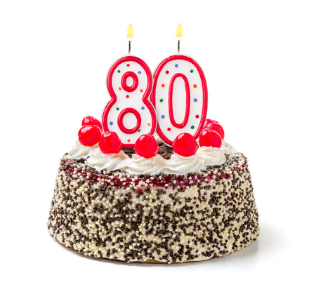 Photo pour Birthday cake with burning candle number 80 - image libre de droit