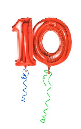 Photo pour Red balloons with ribbon - Number 10 - image libre de droit