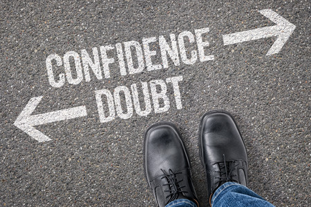 Photo for Decision at a crossroad - Confidence or Doubt - Royalty Free Image