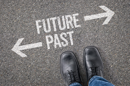 Photo pour Decision at a crossroad - Future or Past - image libre de droit