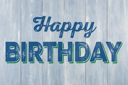 Foto de Blue wooden wall with the inscription Happy Birthday - Imagen libre de derechos