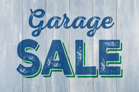 Photo for Blue wooden wall with the inscription Garage Sale - Royalty Free Image