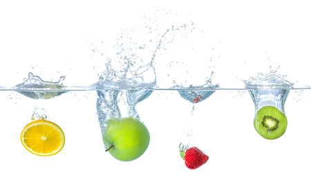 Photo for Fresh fruits falling into water with splashes - Royalty Free Image