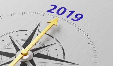 Photo pour Compass needle pointing to the text 2019 - image libre de droit