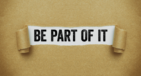 Photo for Torn brown paper revealing the words Be part of it - Royalty Free Image