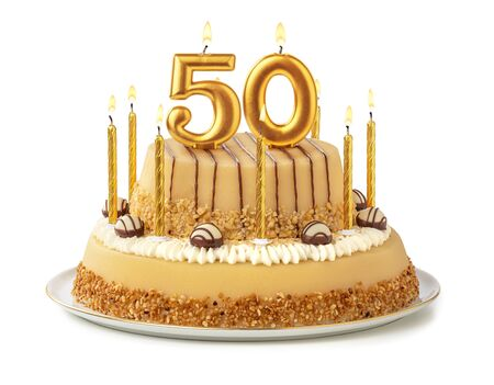 Foto de Festive cake with golden candles - Number 50 - Imagen libre de derechos