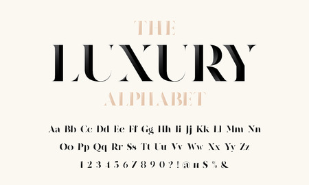 Illustrazione per Vector of stylized modern luxury font and alphabet - Immagini Royalty Free