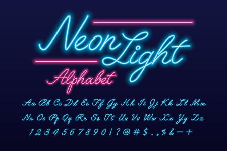 Illustration pour Glowing neon light script alphabet - image libre de droit