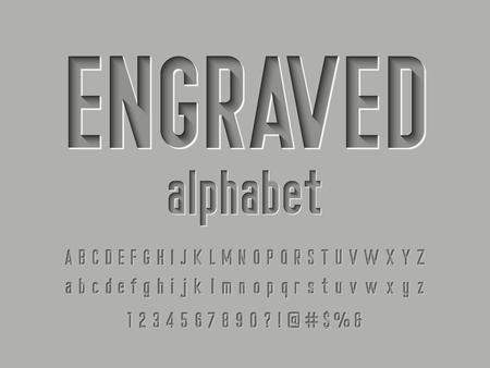 Ilustración de Engraved alphabet design - Imagen libre de derechos