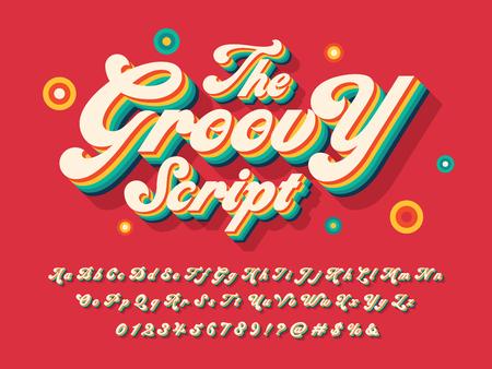 Illustration pour A groovy hippie style alphabet design - image libre de droit