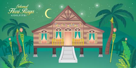 Illustration for traditional malay village house. Malay word selamat hari raya aidilfitri that translates to wishing you a joyous hari raya. - Royalty Free Image