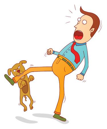 Illustration pour naughty dog biting foot - image libre de droit