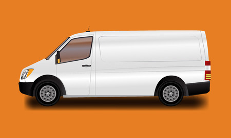 Illustration pour Template for advertising and corporate identity. Illustrated vector white van. Blank transport mockup for your design. - image libre de droit