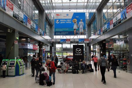 Foto de Kyiv, Ukraine - September 23, 2017: Main hall of the International Airport Zhuliany, one of the two passenger airports of Ukrainian capital Kiev. - Imagen libre de derechos
