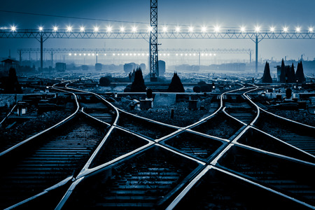 Foto per Cargo train platform at sunset with container - Immagine Royalty Free