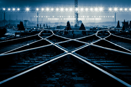 Photo pour Cargo train platform at sunset with container - image libre de droit