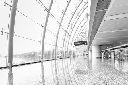 Foto de Futuristic guangzhou Airport interior people walking in motion blur - Imagen libre de derechos